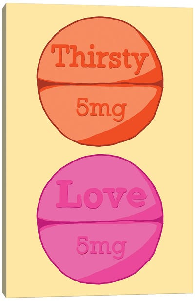 Thirsty Love Pill Yellow Canvas Art Print