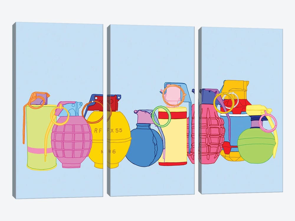 Candy Coated Grenades by Jaymie Metz 3-piece Art Print