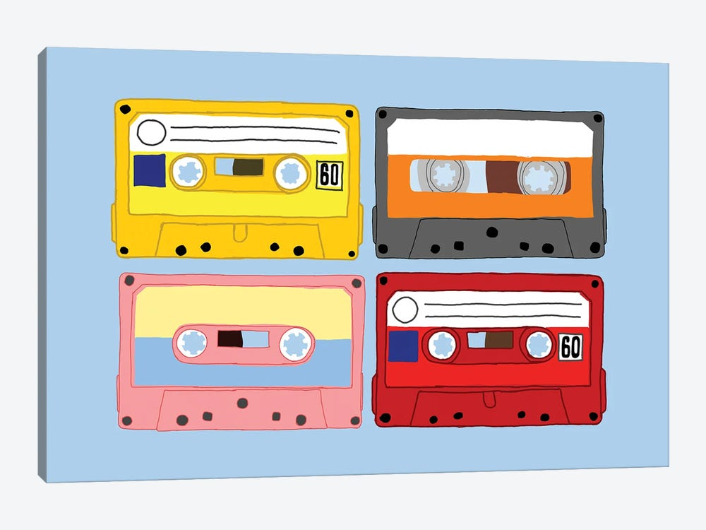 Cassette Tapes by Jaymie Metz 1-piece Canvas Art
