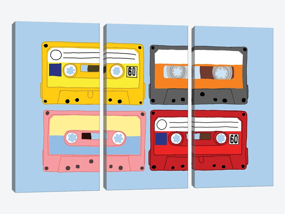 Cassette Tapes by Jaymie Metz 3-piece Canvas Wall Art