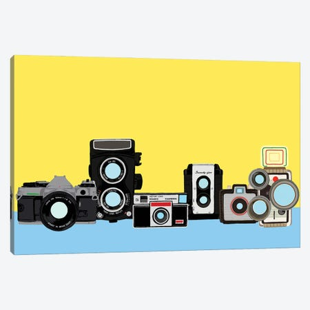 Cameras Yellow And Blue Canvas Print #JYM169} by Jaymie Metz Canvas Artwork
