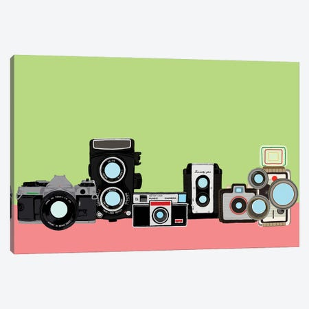 Cameras Green And Pink Canvas Print #JYM170} by Jaymie Metz Canvas Print