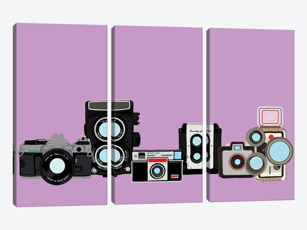 Cameras Lavender by Jaymie Metz 3-piece Art Print