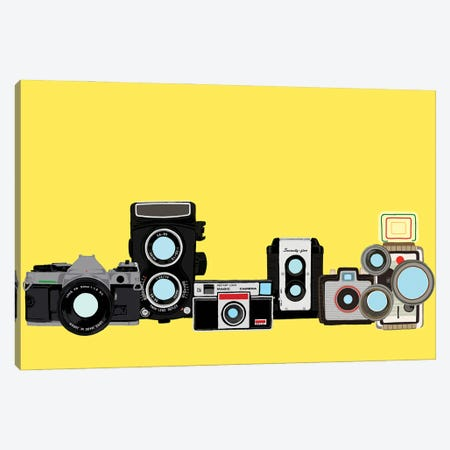 Cameras Yellow Canvas Print #JYM176} by Jaymie Metz Canvas Wall Art