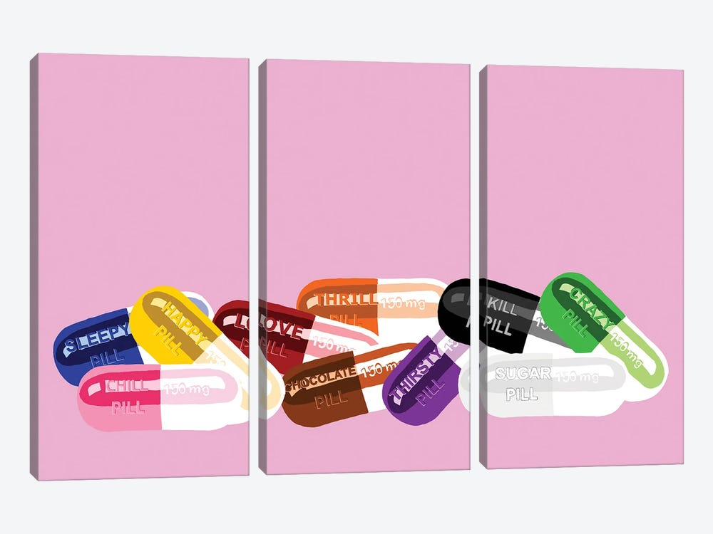 Chill Pill Party Pink by Jaymie Metz 3-piece Canvas Art Print