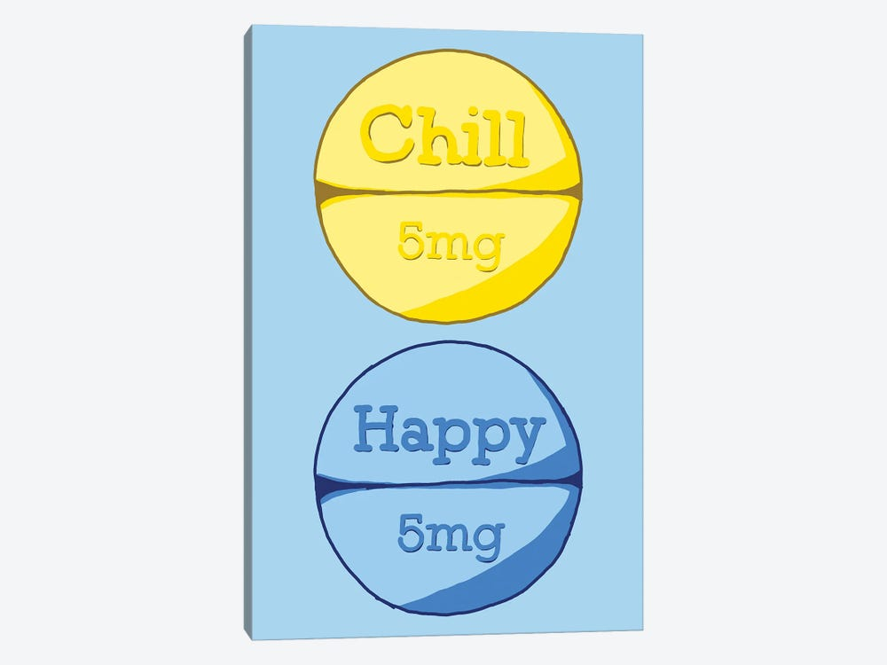 Chill Happy Pill Blue by Jaymie Metz 1-piece Canvas Art