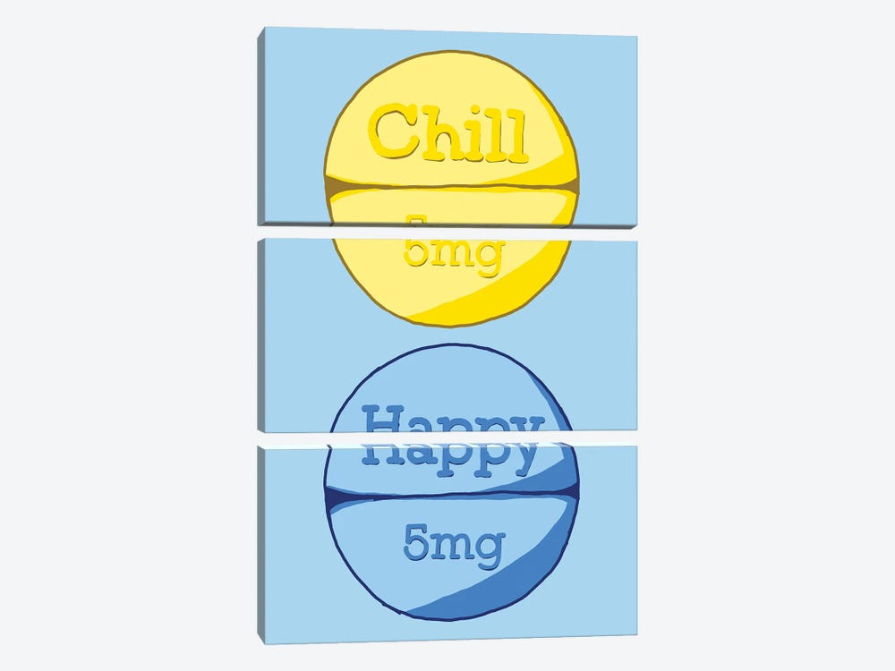 Chill Happy Pill Blue by Jaymie Metz 3-piece Canvas Wall Art