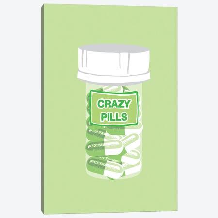 Crazy Pill Bottle Mint Canvas Print #JYM196} by Jaymie Metz Canvas Artwork