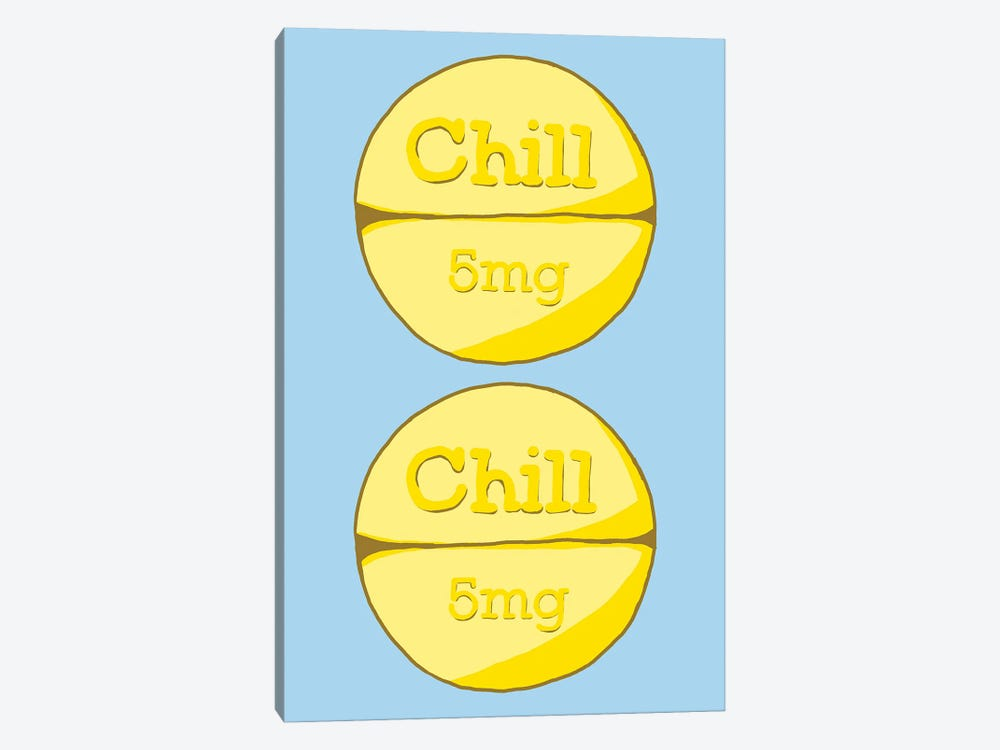 Chill Chill Pill Blue by Jaymie Metz 1-piece Canvas Print