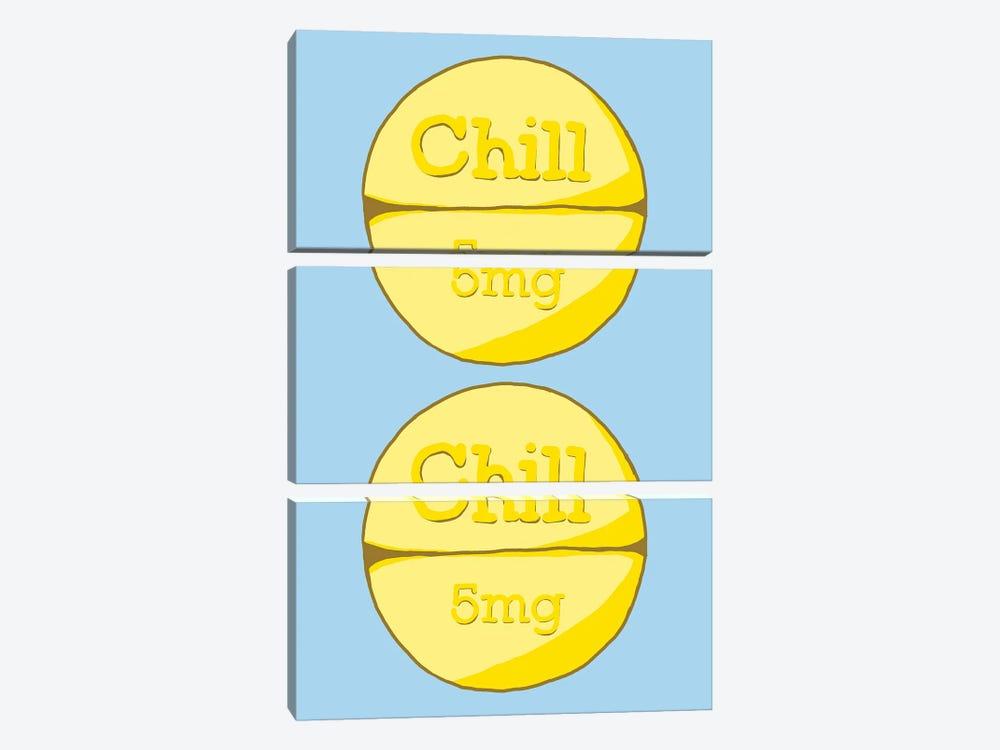 Chill Chill Pill Blue by Jaymie Metz 3-piece Art Print