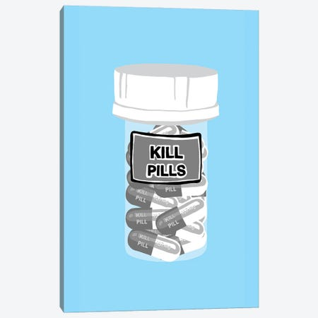 Kill Pill Bottle Blue Canvas Print #JYM204} by Jaymie Metz Canvas Artwork