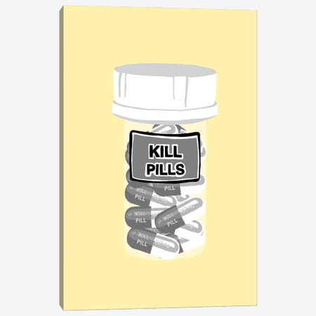 Kill Pill Bottle Yellow Canvas Print #JYM207} by Jaymie Metz Canvas Artwork