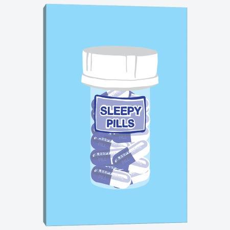 Sleepy Pill Bottle Blue Canvas Print #JYM214} by Jaymie Metz Canvas Print