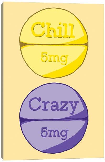 Chill Crazy Pill Yellow Canvas Art Print