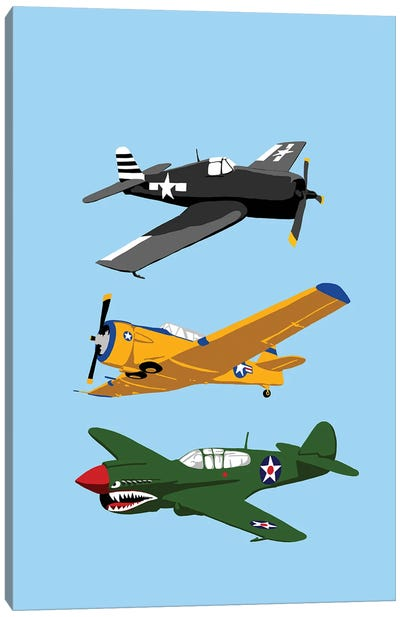WWII Planes Vertical Canvas Art Print
