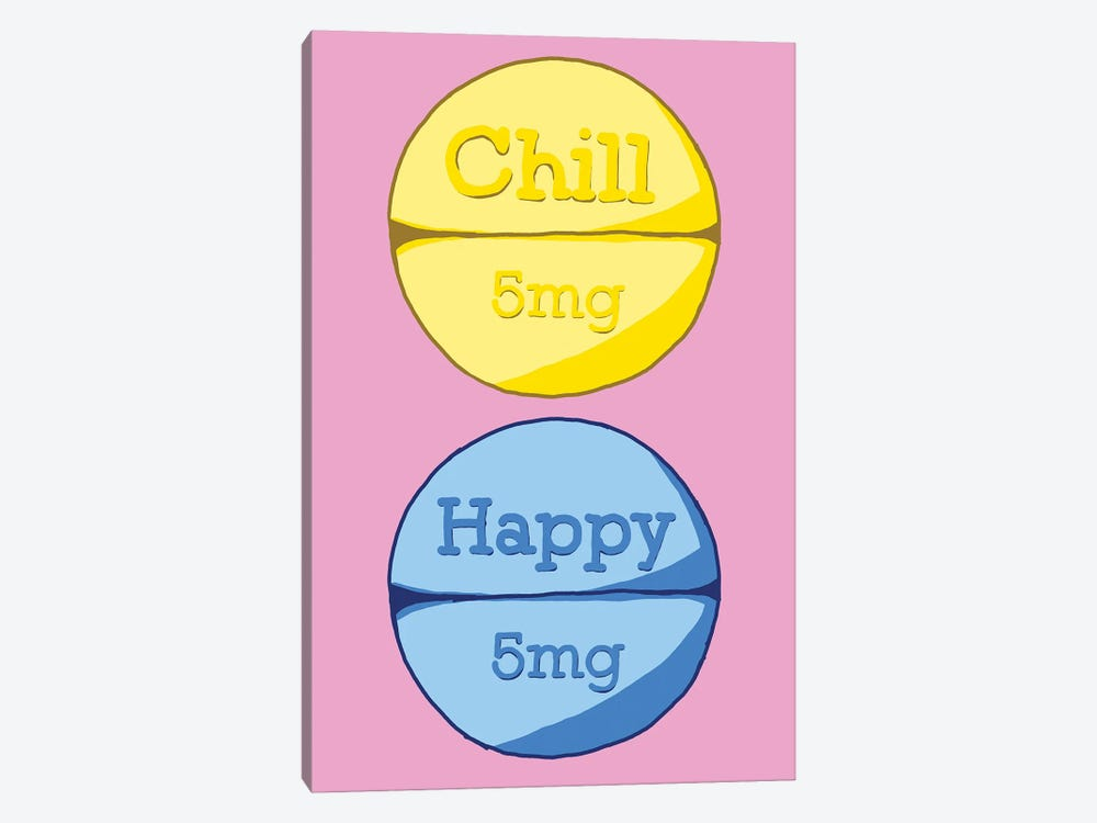 Chill Happy Pill Pink by Jaymie Metz 1-piece Canvas Artwork