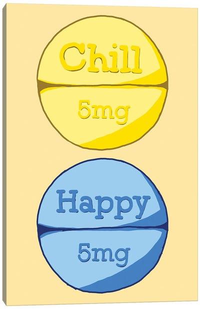 Chill Happy Pill Yellow Canvas Art Print
