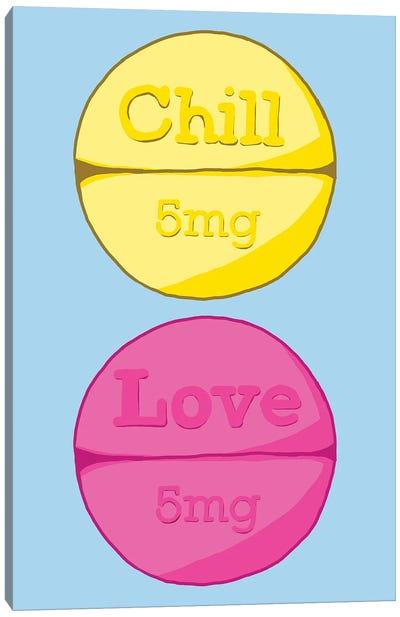 Chill Love Pill Blue Canvas Art Print