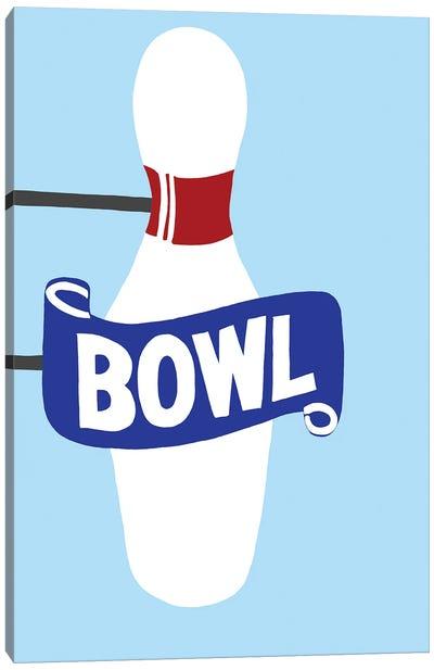 Vintage Bowling Pin Neon Sign Canvas Art Print