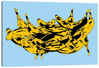 Band Of Bananas II Blue Canvas Art Print