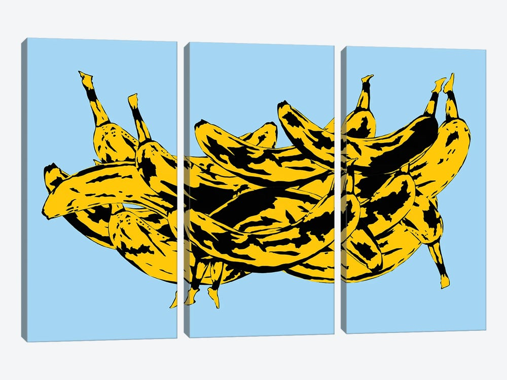 Band Of Bananas II Blue by Jaymie Metz 3-piece Canvas Art