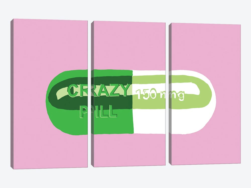 Crazy Pill Pink by Jaymie Metz 3-piece Canvas Art Print