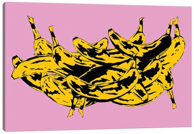 Band Of Bananas II Pink Canvas Art Print