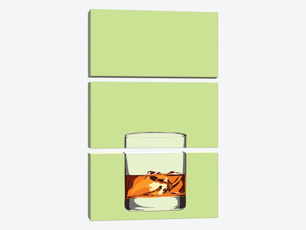 Glass Of Whisky by Jaymie Metz 3-piece Art Print