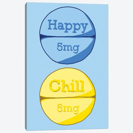 Happy Chill Pill Blue Canvas Print #JYM66} by Jaymie Metz Art Print