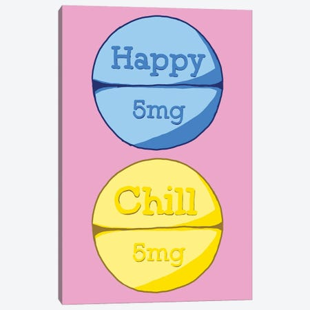 Happy Chill Pill Pink Canvas Print #JYM67} by Jaymie Metz Art Print