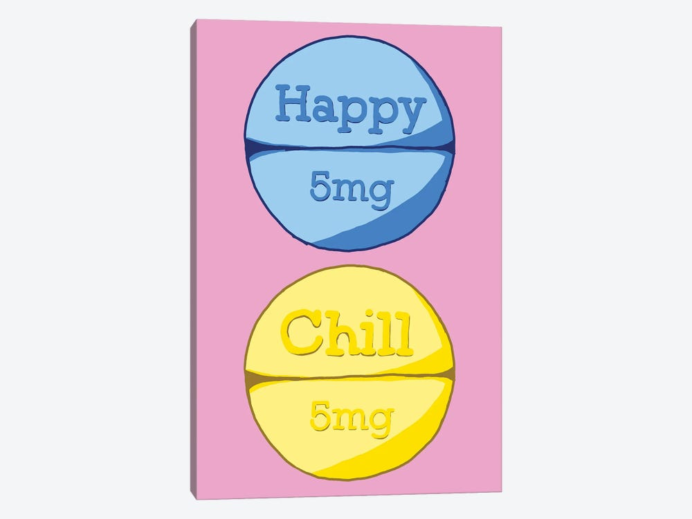 Happy Chill Pill Pink by Jaymie Metz 1-piece Canvas Art