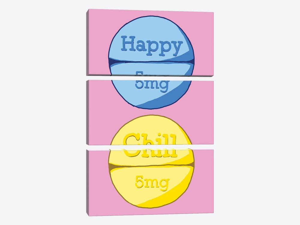 Happy Chill Pill Pink by Jaymie Metz 3-piece Canvas Artwork