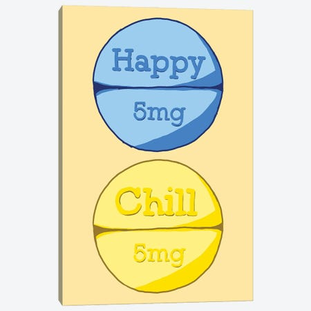 Happy Chill Pill Yellow Canvas Print #JYM68} by Jaymie Metz Canvas Wall Art