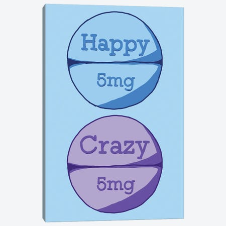 Happy Crazy Pill Blue Canvas Print #JYM69} by Jaymie Metz Canvas Wall Art