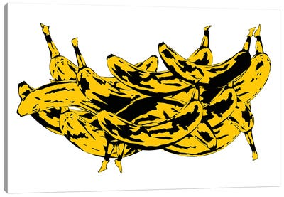 Band Of Bananas II White Canvas Art Print