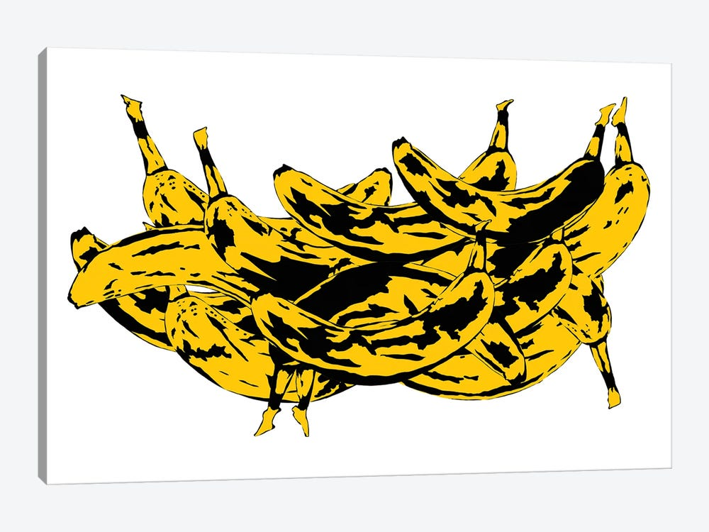 Band Of Bananas II White by Jaymie Metz 1-piece Canvas Wall Art