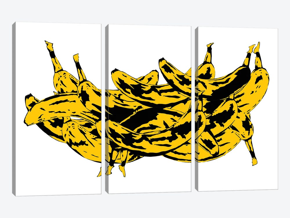 Band Of Bananas II White by Jaymie Metz 3-piece Canvas Wall Art