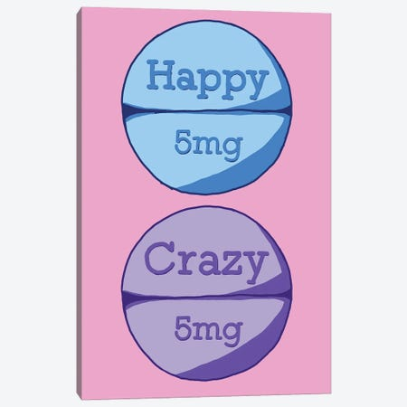 Happy Crazy Pill Pink Canvas Print #JYM70} by Jaymie Metz Canvas Art Print