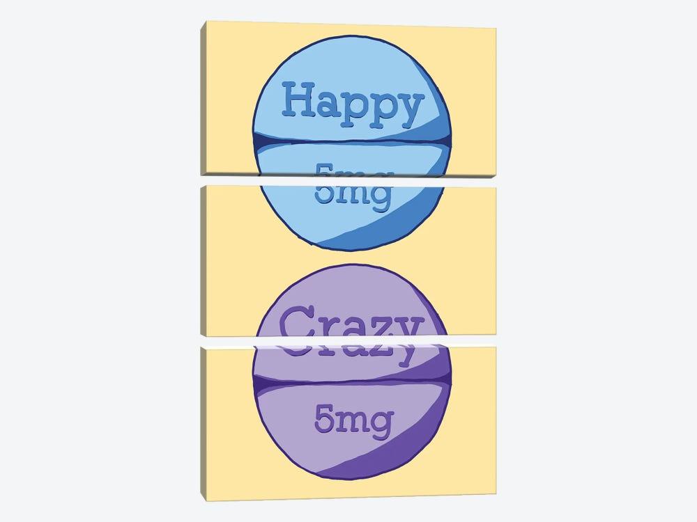Happy Crazy Pill Yellow by Jaymie Metz 3-piece Canvas Print
