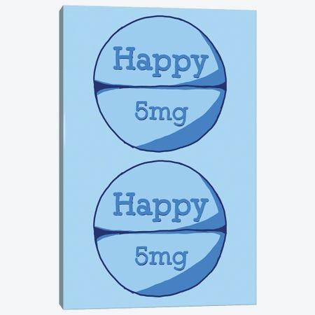 Happy Happy Pill Blue Canvas Print #JYM72} by Jaymie Metz Art Print