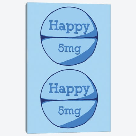 Happy Happy Pill Blue Canvas Print #JYM72} by Jaymie Metz Art Print