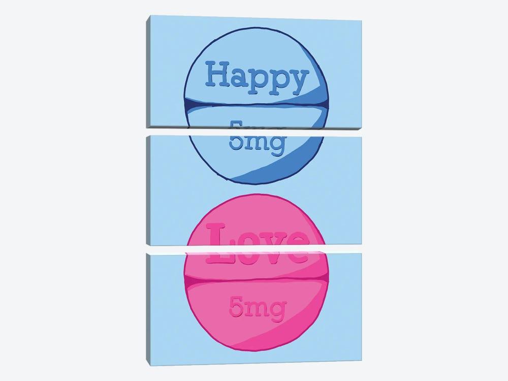 Happy Love Pill Blue by Jaymie Metz 3-piece Canvas Print