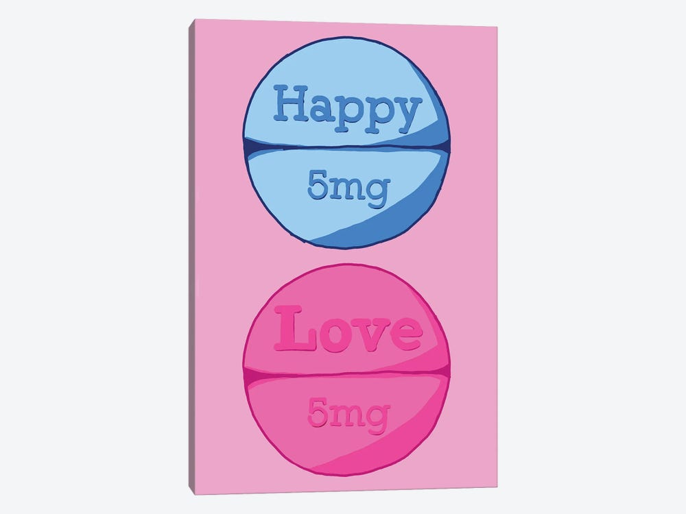 Happy Love Pill Pink by Jaymie Metz 1-piece Canvas Wall Art