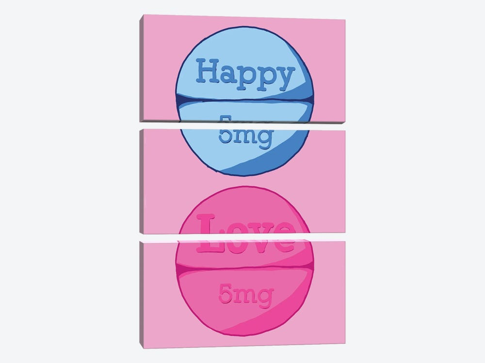 Happy Love Pill Pink by Jaymie Metz 3-piece Canvas Wall Art