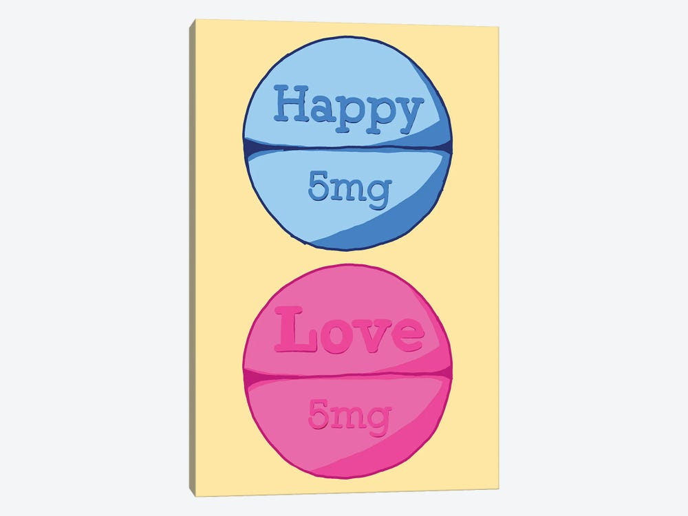 Happy Love Pill Yellow by Jaymie Metz 1-piece Canvas Art Print