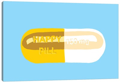 Happy Pill Blue Canvas Art Print