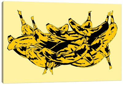 Band Of Bananas II Yellow Canvas Art Print
