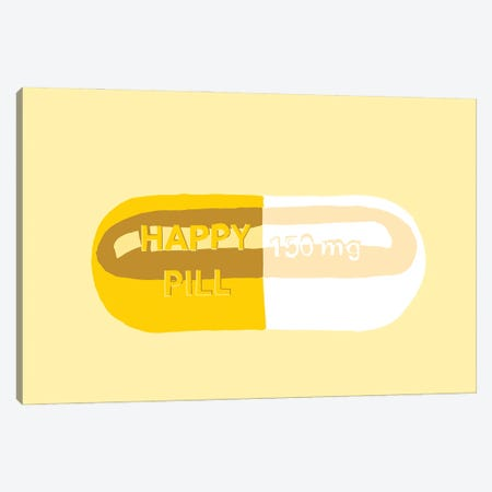 Happy Pill Yellow Canvas Print #JYM82} by Jaymie Metz Canvas Artwork