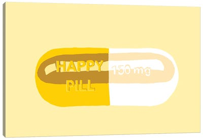 Happy Pill Yellow Canvas Art Print