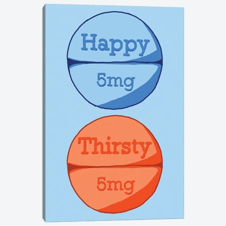 Happy Thirsty Pill Blue Canvas Print #JYM83} by Jaymie Metz Canvas Wall Art